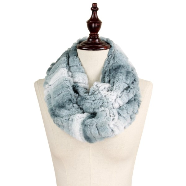 """Ombre texture faux fur infinity scarf. 100% polyester. Size: 7.5""""W x 31.5""""L"""