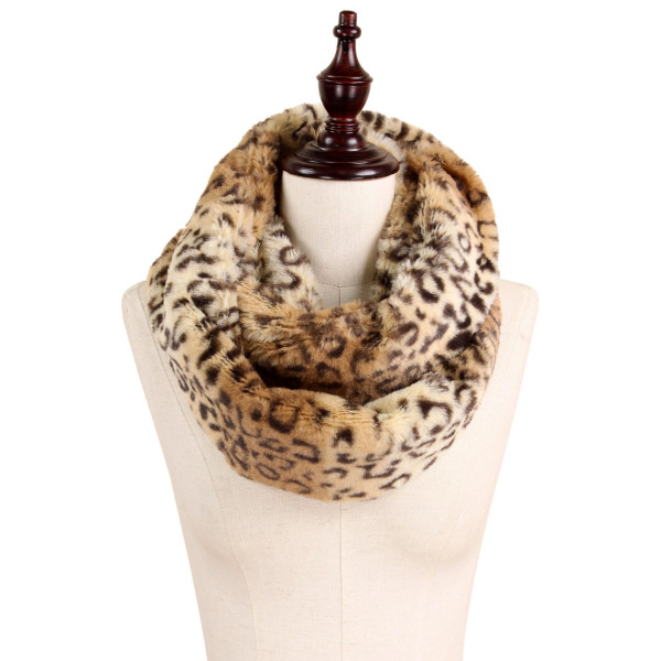 """Leopard print fur infinity. 100% Polyester. Approximately 7"""" x 31"""""""