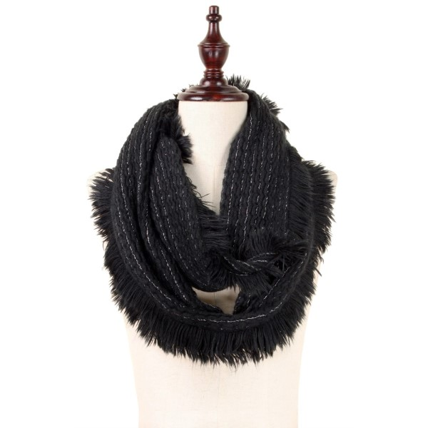 Soft touch infinity scarf with metallic detail and fringed edges.  100% acrylic.