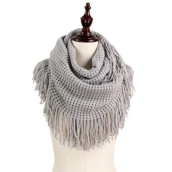 Lurex mix waffle knit infinity scarf. 100% acrylic.