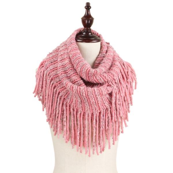 Chunky knit tassel infinity scarf. 100% acrylic.