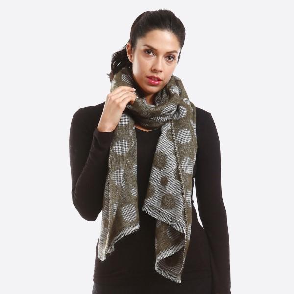 Double sided polka dot scarf. 100% acrylic.