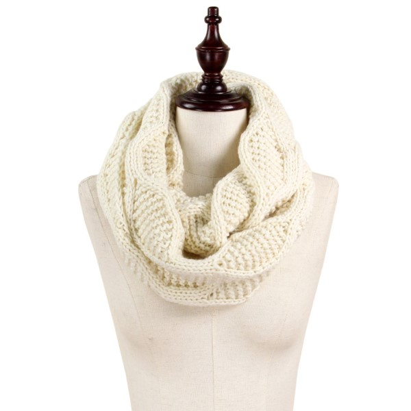 "Cable knit infinity scarf. 100% acrylic. Size: 9.5""W x 27.5""L"