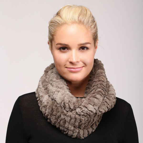 Soft touch fuzzy infinity scarf. 100% polyester.