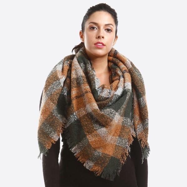 Soft knit plaid blanket scarf. 100% acrylic.