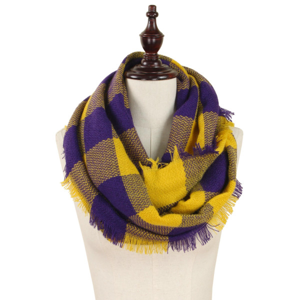 Wholesale buffalo plaid woven infinity scarf acrylic W L