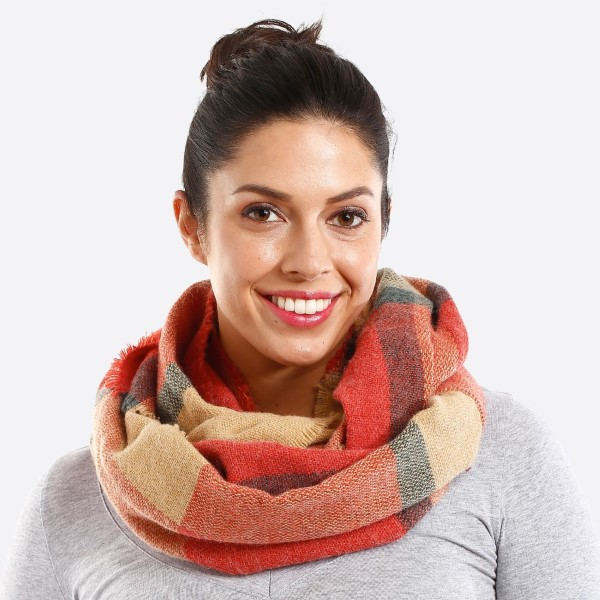 Plaid multi color infinity scarf. 100% acrylic.