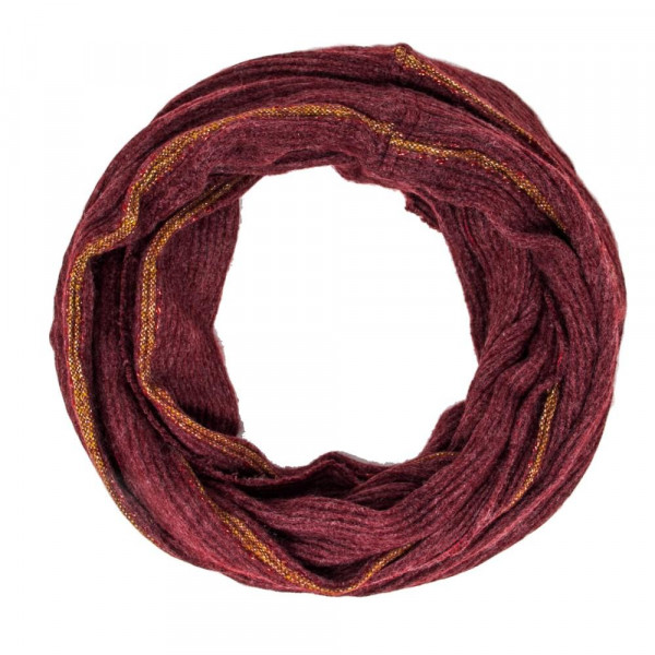 Solid color infinity scarf with stripe detail. 100% acrylic.