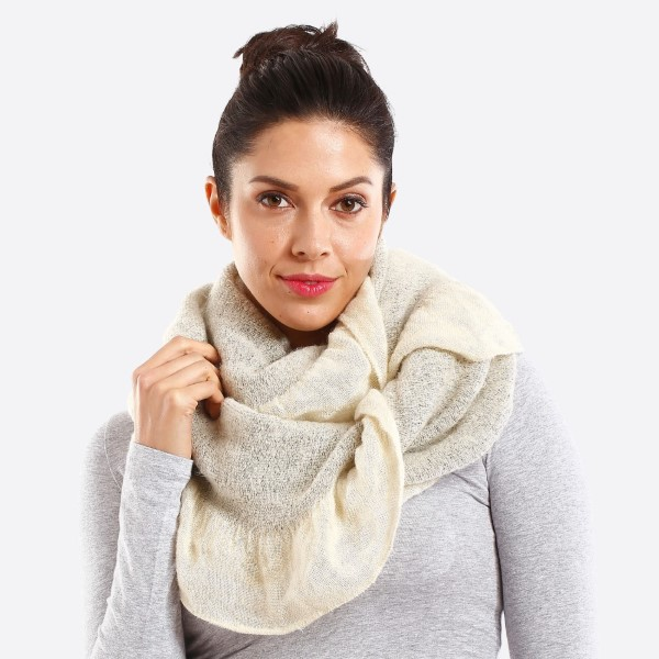Solid color infinity scarf with ruffle. 100% acrylic.
