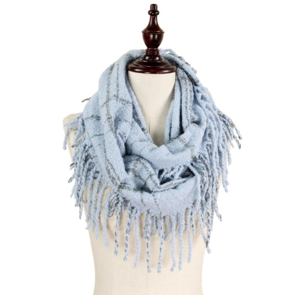 """Two tone plaid infinity scarf with fringes.   - Approximately 13"""" W x 33"""" L - 100% Acrylic"""