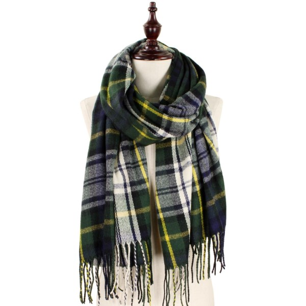 Heavyweight plaid scarf with fringe. 100% acrylic.