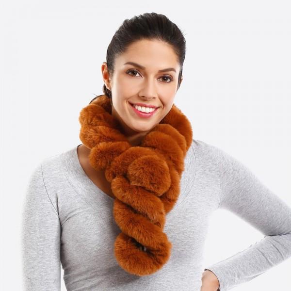 Twisted faux fur scarf. 100% acrylic.