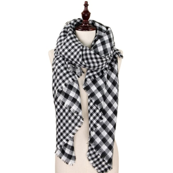 Soft touch buffalo check blanket scarf. 100% acrylic.