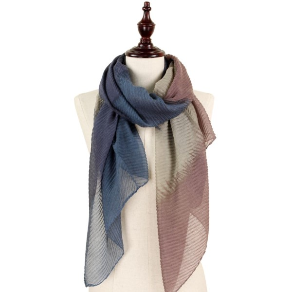 """Pleated abstract print scarf. 100%polyester.   29.5""""W x 63""""L"""