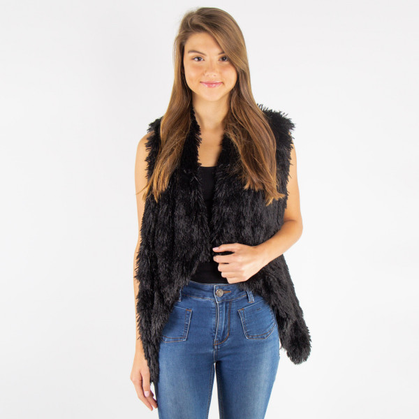 Solid color faux fur collar vest. 100% polyester. One size fits most.