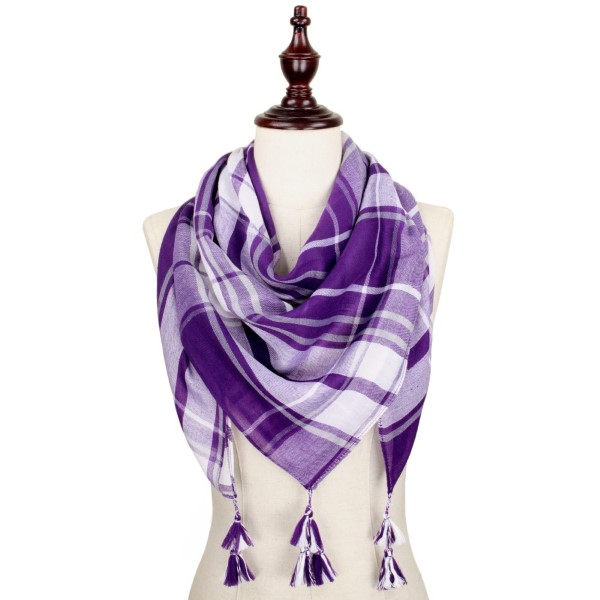 Game day plaid square scarf. 100% polyester.
