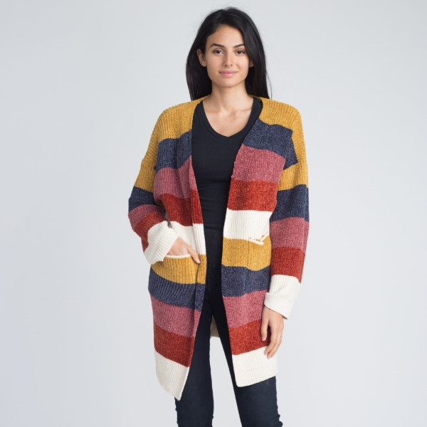 Multi color strip chenille cardigan. 100% polyester.   One size fits most.