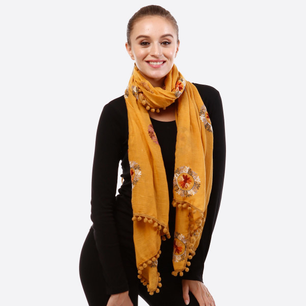 Wholesale lightweight embroidered scarf pom pom detail acrylic