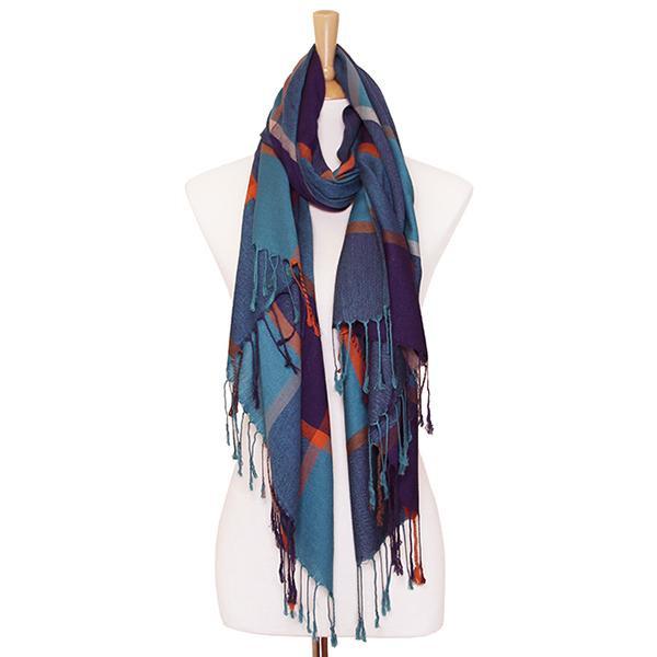 Multi colored check scarf. 100% viscose.