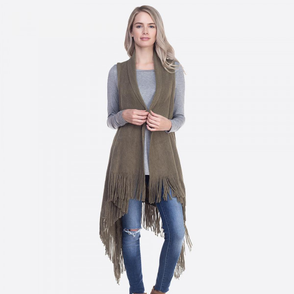Wholesale solid knit vest fringes One fits most longest Acrylic