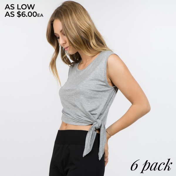 An asymmetrical hem gives this tee a unique look and flattering fit. Lend a touch of edge to your activewear collection with this go-to top. Well-crafted with a flattering cut, it's perfect for morning jogs, gym sessions and more.   - Asymmetrical hem w/ self-tie detail at left  - Scoop-neck  - Relax Fit  - Super Soft  - Stretchy  - Imported   Content: 95% Rayon, 5% Spandex   Pack Breakdown: 6pcs/pack. 2S: 2M: 2L