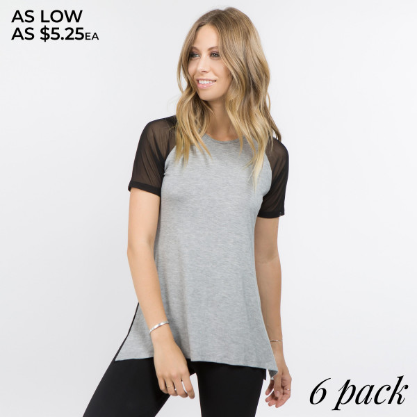 This is not your average tank! Our Women's Athleisure Mesh Sleeve Top is well-crafted with a flattering cut, sleek mesh & ultra-soft stretchy knit for maximum comfort. It's perfect for morning jogs, gym sessions and more.   - Scoop-neck  - Side slits at hem  - Mesh Sleeves  - Relax Fit  - Super Soft  - Stretchy  - Imported   Content: 95% Rayon, 5% Spandex   Pack Breakdown: 6pcs/pack. 2S: 2M: 2L