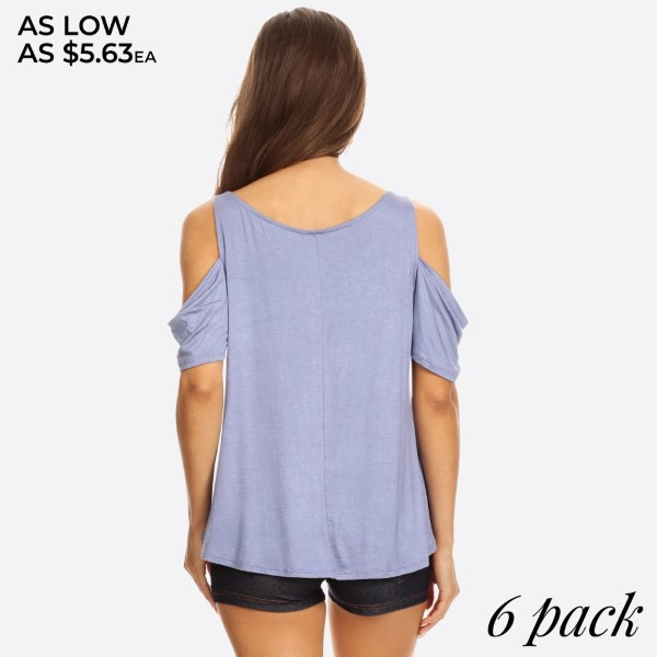 Dressed up or down, this trend-right Cold Shoulder Short Sleeve Top that features,   • Round Neckline  • Closure Style: Pullover  • Cold Shoulder Sleeves  • Relaxed Fit  • Rayon/Spandex  • Machine wash cold, lay flat to dry   Content: 96% Rayon, 4% Spandex   Pack Breakdown: 6pcs/pack. 2S: 2M: 2L   • This model is wearing a size Small