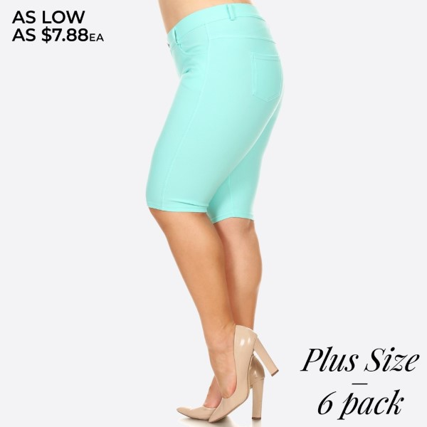 These plus size Bermuda jeggings are styled to resemble a pair of jeans. Get both comfort and style!  -Bermuda length jeggings featuring a light sheen and jean-style construction -Lightweight, breathable cotton-blend material for all day comfort - Belt loops with 5 functional pockets - Super Stretchy - Pull up Style Composition: 68% Cotton, 27% Polyester, 5% Spandex.  Pack Breakdown: 6pcs/pack. 2XL: 2XXL: 2XXXL