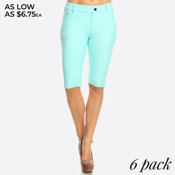 These Bermuda Jeggings are styled to resemble a pair of jeans. Get both comfort and style!   - Bermuda length jeggings featuring a light sheen and jean-style construction  - Lightweight, breathable cotton-blend material for all day comfort  - Belt loops with 5 functional pockets  - Super Stretchy  - Pull up Style   Composition: 68% Cotton, 27% Polyester, 5% Spandex.   Pack Breakdown: 6pcs/pack. 2S: 2M: 2L