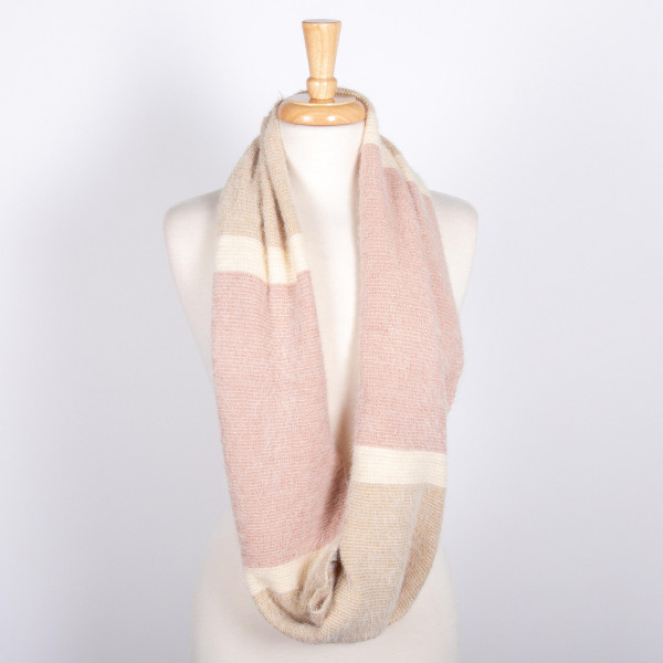 Color block fuzzy infinity scarf. 100% acrylic.