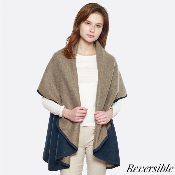 Two tone double sided shawl vest. 100% acrylic.