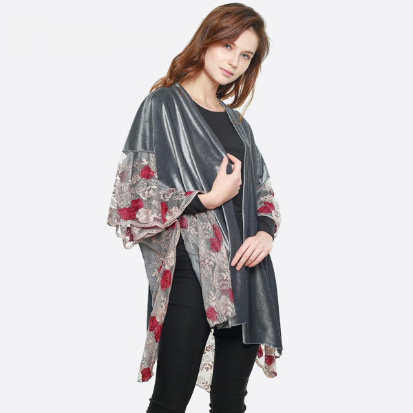"Floral embroidered mesh velvet kimono. 100% polyester. 43.3"" x 63""   One size fits most."