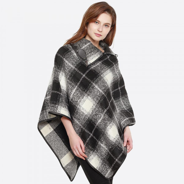 Buckle collar accent plaid poncho. 100% polyester. Size: 29.5 x 27.6""
