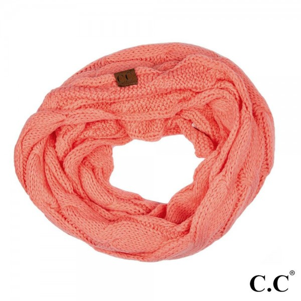 """SF-800: Cable knit C.C Infinity scarf. 100% acrylic.   Matches: MB-20A, Hat-20A, and G-20  W: 13"""" x L: 60"""""""