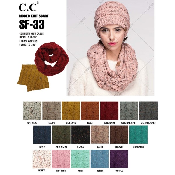 "SF-33: Confetti knit cable C.C infinity scarf. 100% acrylic.   Matches: MB-33, HAT-33, and G-33  W:13"" x L: 57"""