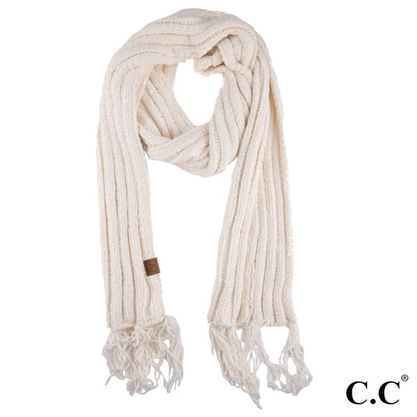 "SF-1815: Chenille C.C scarf with tassels. 100% Chenille.  W:11"" x L: 71"""