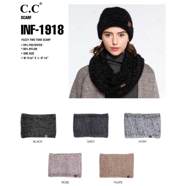 INF-1918: Fuzzy two tone infinity scarf. 70% polyester and 30% nylon.