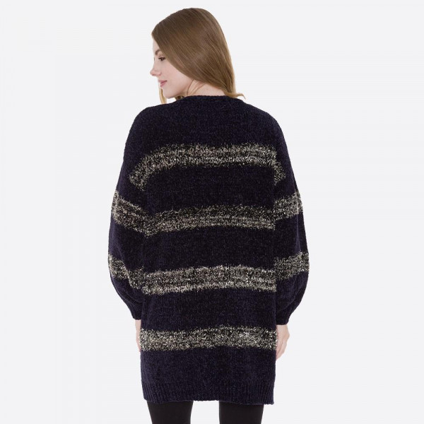 Chenille cardigan with tinsel stripes. 100% polyester.   One size fits most.