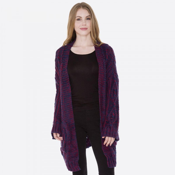 Cable knit cardigan. 100% acrylic. One size fits most.