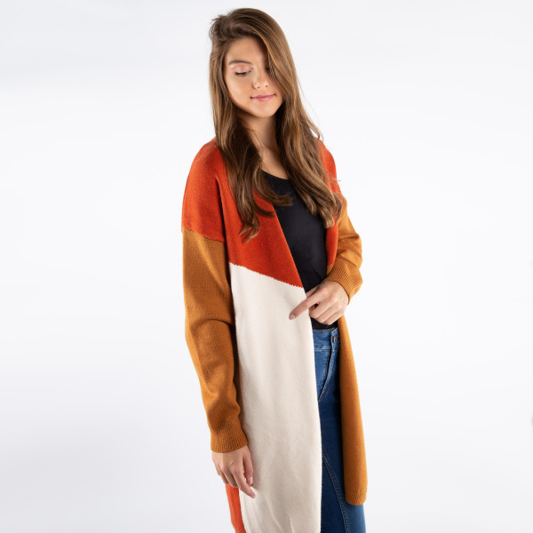 Color blocked cardigan. 100% acrylic.   One size fits most.