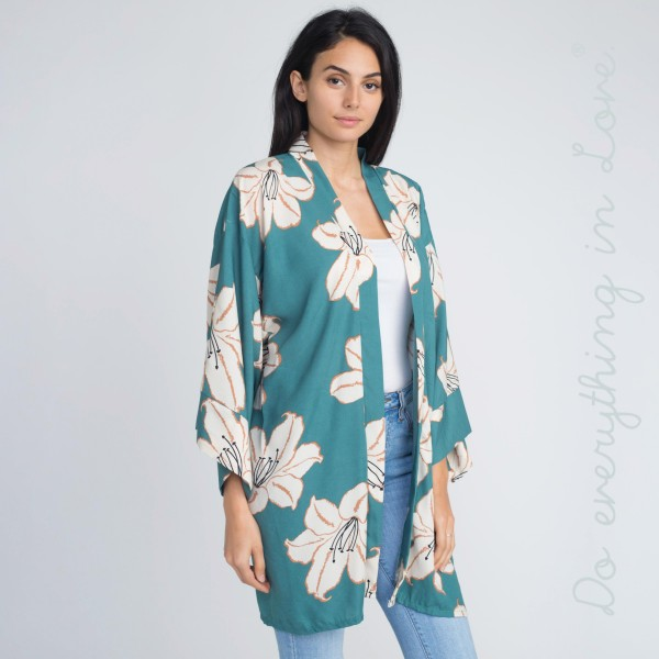 Floral print kimono.   - One size fits most 0-14 - 100% Acrylic