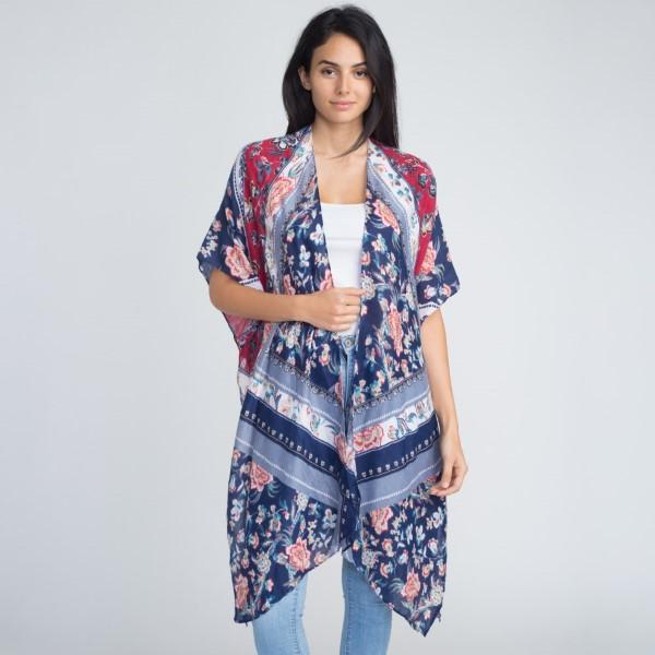 Floral pattern long kimono. 100% Polyester.