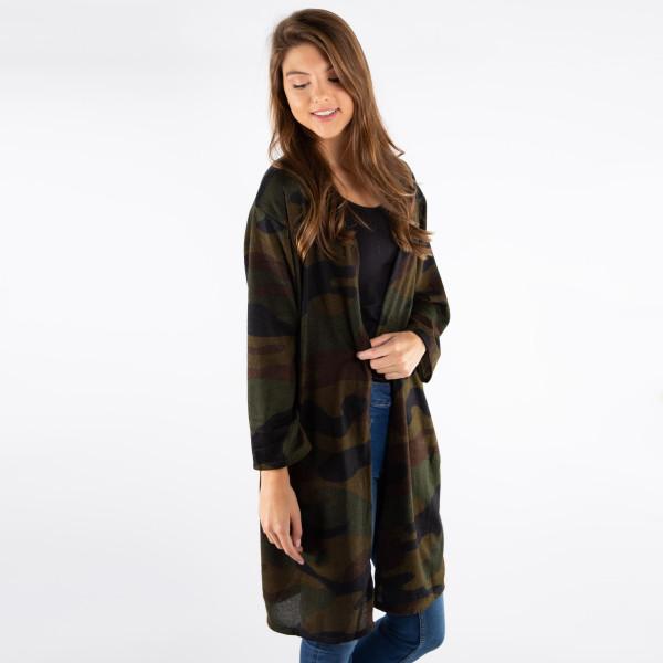 "Lightweight camo knit short kimono. 100% polyester. 29.5"" x 21.5"""