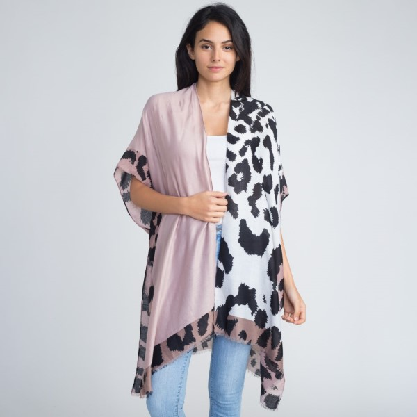 Color-block leopard lightweight kimono. 100% polyester.   One size fits most.