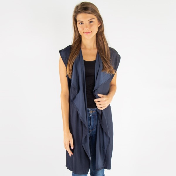 Waterfall lapel satin vest. 100% cotton.