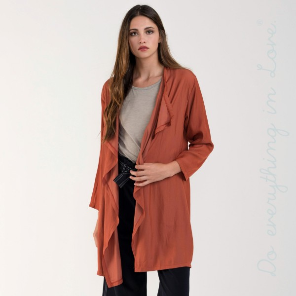 Waterfall lapel silky cardigan. 100% cotton.