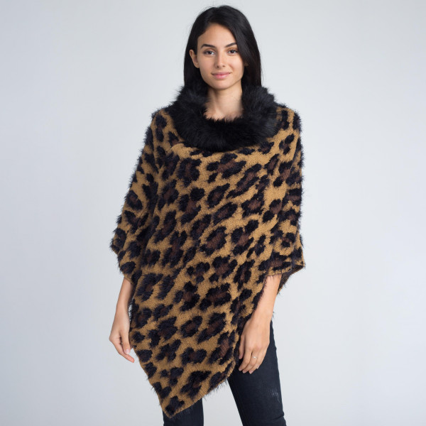 Mohair leopard print poncho. 100% acrylic.   One size fits most.