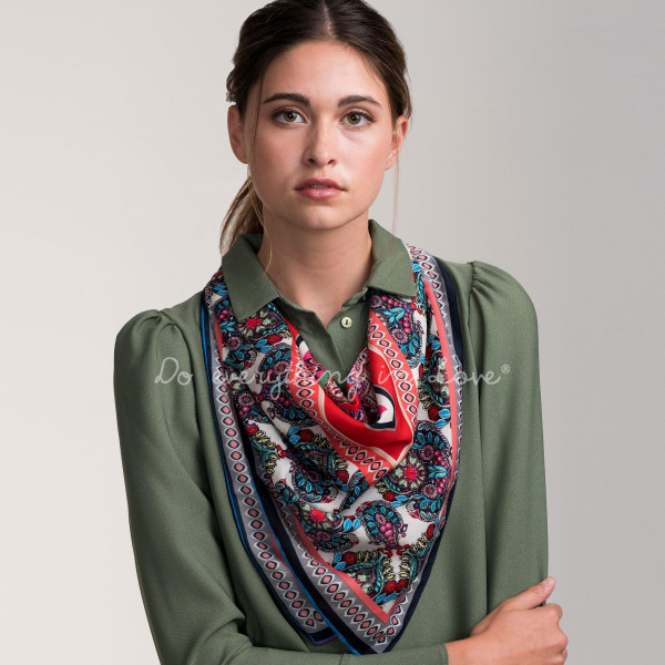 Wholesale mulit Colored Damask Print Scarf Polyester L W