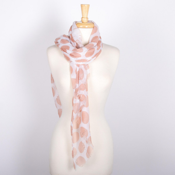 Light weight polka dot scarf. 100% acrylic.