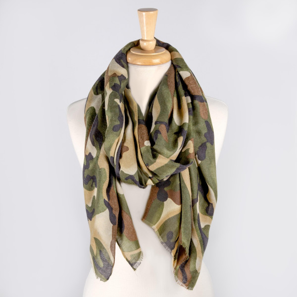 """Lightweight camouflage scarf. Approximately 36"""" x 74"""". 100% Polyester."""